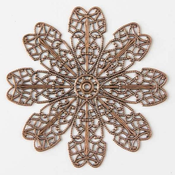 Vintage Copper Plating on Brass 66mm Filigree Flower Component