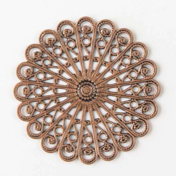 Vintage Copper Plating on Brass 38mm Filigree Component
