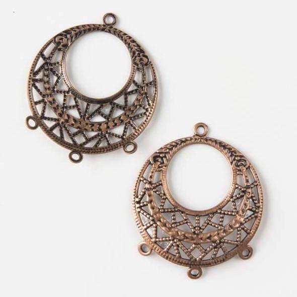 Vintage Copper Plating on Brass 25mm Filigree Earring Finding