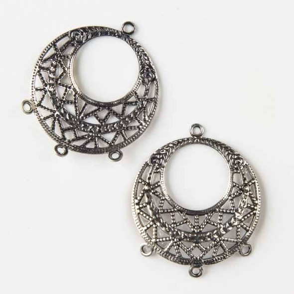 Vintage Silver Plating on Brass 25mm Filigree Earring Finding