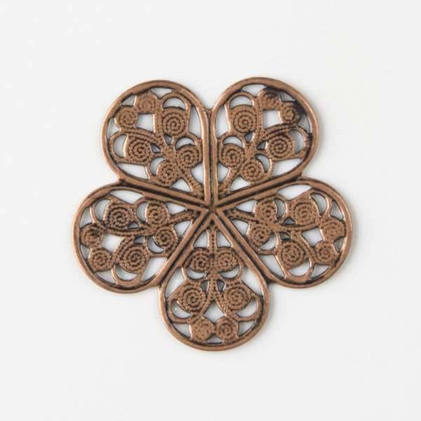 Vintage Copper Plating on Brass 27mm Small Filigree Flower