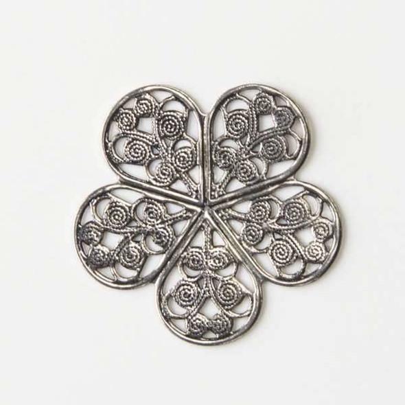 Vintage Silver Plating on Brass 27mm Small Filigree Flower