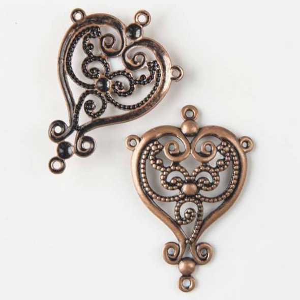 Vintage Copper Plating on Brass 24x35mm Filigree 1:3 Heart Connector