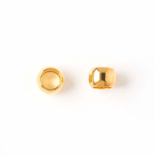 Gold Colored Brass 5mm Leather Crimp Beads with a 3mm Large Hole - 50 per bag - brasslgcr5g