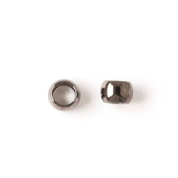 Gun Metal Colored Brass 5mm Leather Crimp Beads with a 3mm Large Hole - 50 per bag - brasslgcr5gm