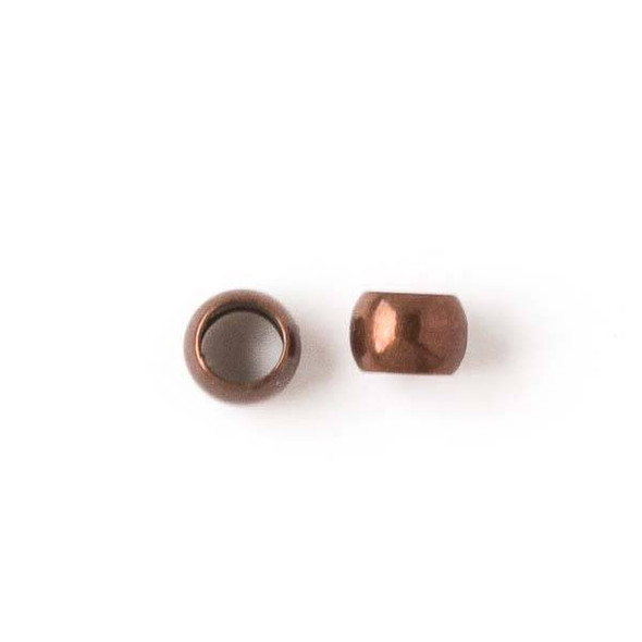Vintage Copper Colored Brass 5mm Leather Crimp Beads with a 3mm Large Hole - 50 per bag - brasslgcr5vc
