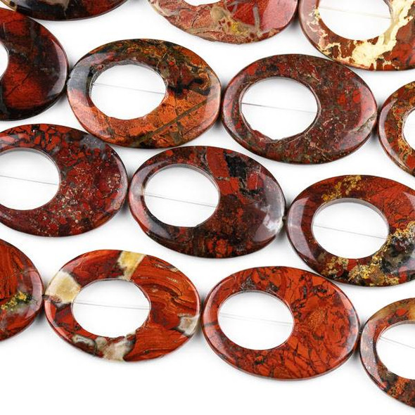 Red Brecciated Jasper 25x35mm Agogo/Oval Beads - approx. 8 inch strand
