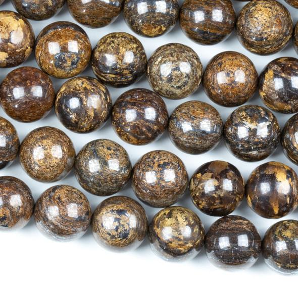 Bronzite 12mm Round Beads - 16 inch strand