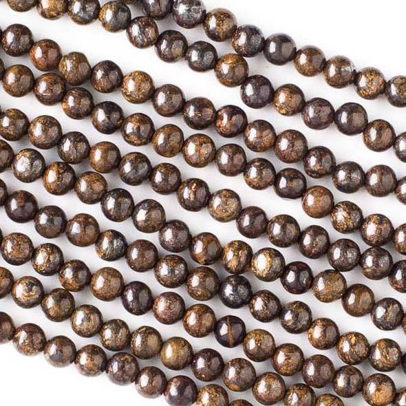 Bronzite 4mm Round Beads - 16 inch strand