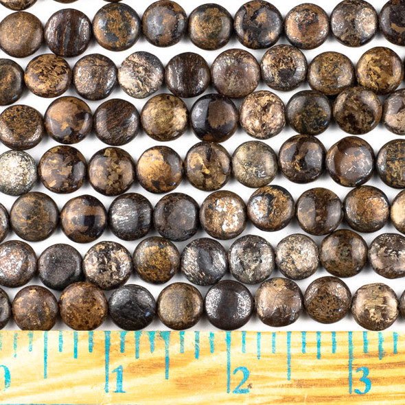 Bronzite 10mm Coin Beads - approx. 8 inch strand, Set A