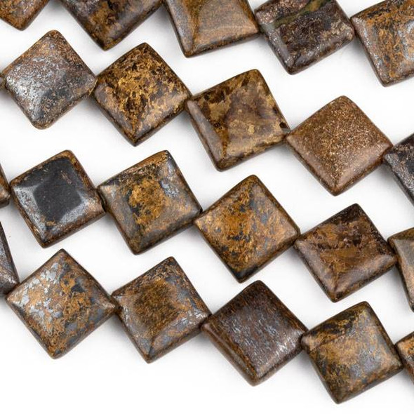 Bronzite 10mm Diagonal Drilled Square Beads - approx. 8 inch strand, Set A