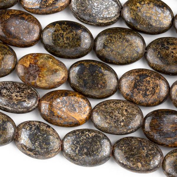 Bronzite 10x14mm Oval Beads - approx. 8 inch strand, Set A