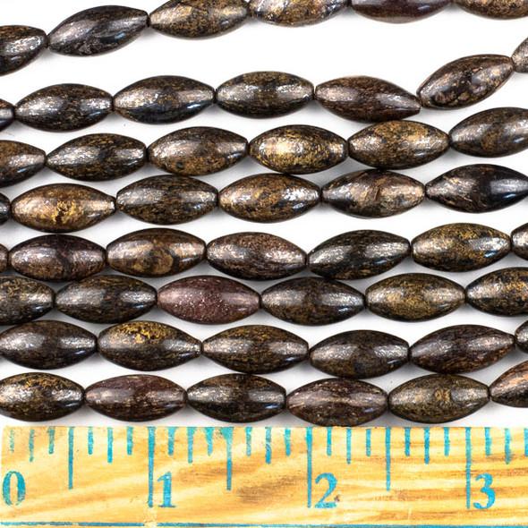 Bronzite 7x14mm Rice Beads - approx. 8 inch strand, Set A