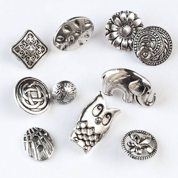 A Bulk Mix of 10 Assorted Silver Pewter Buttons