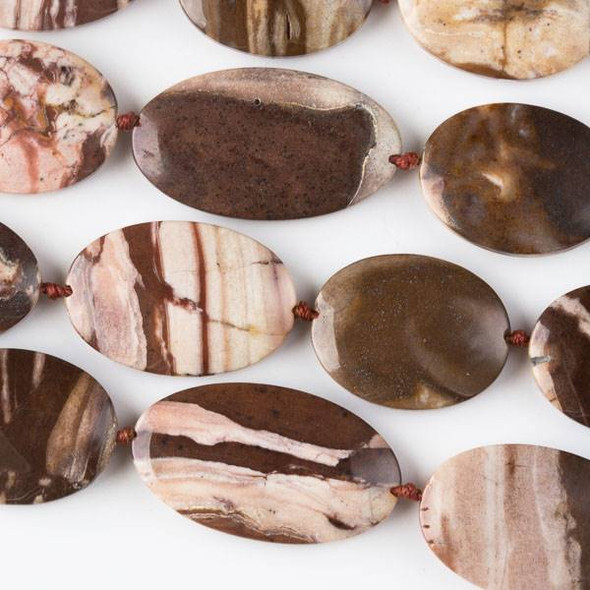 Brown Zebra Jasper 20x35mm, 20x30mm, and 20x26mm Oval Mix - 16 inch strand