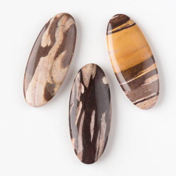 Brown Zebra Jasper 25x60mm Top-Drilled Oval Pendant