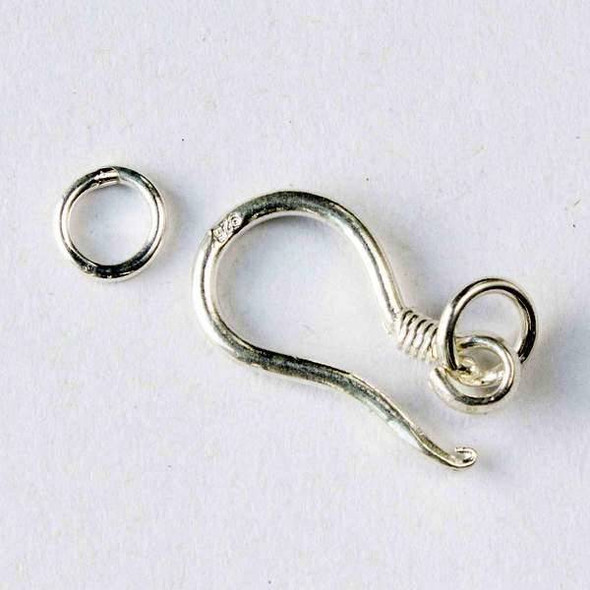 Sterling Silver 10x21mm Hook Clasp with a 6mm Jump Ring - 1 set per bag