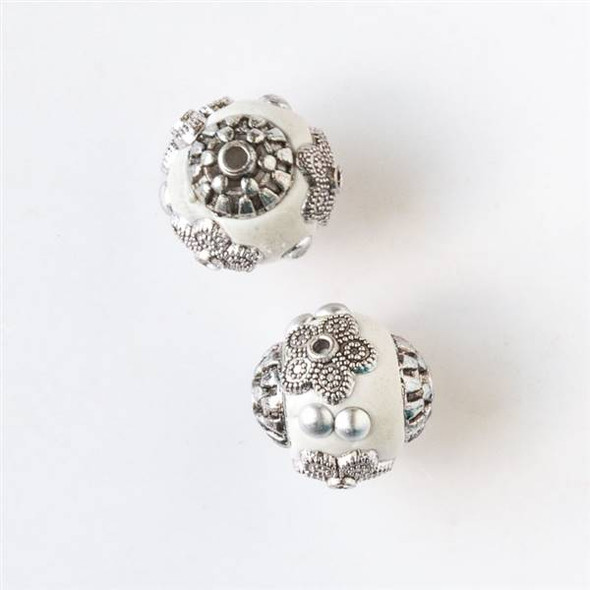 14mm White and Silver Handmade Bead with Bead Caps - 2 per bag