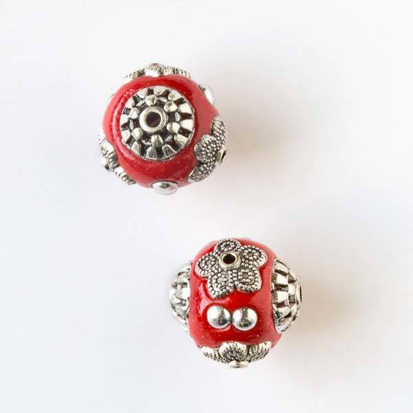 14mm Red and Silver Handmade Bead with Bead Caps - 2 per bag