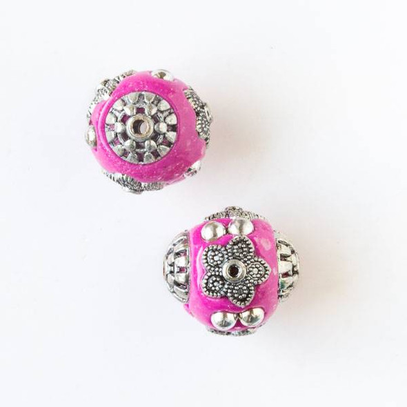 14mm Pink and Silver Handmade Bead with Bead Caps - 2 per bag