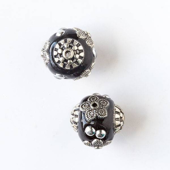 14mm Black and Silver Handmade Bead with Bead Caps - 2 per bag