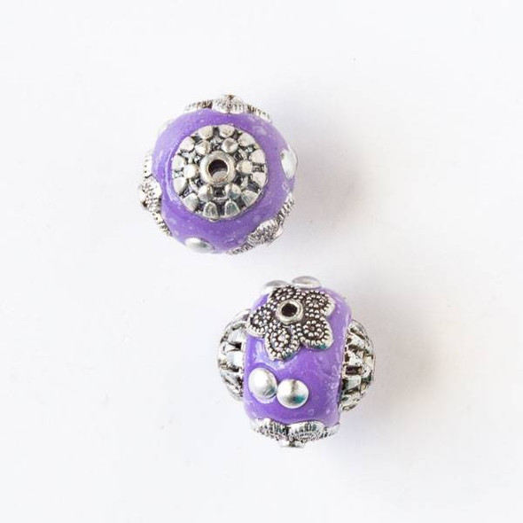 14mm Purple and Silver Handmade Bead with Bead Caps - 2 per bag