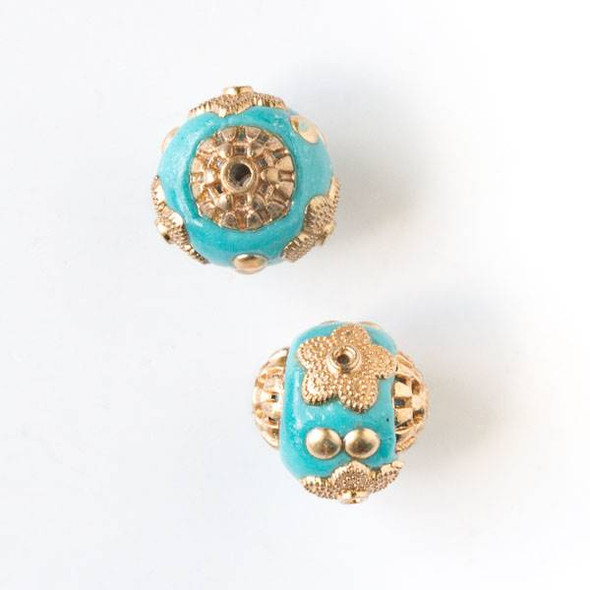 14mm Turquoise Blue and Gold Handmade Bead with Bead Caps - 2 per bag