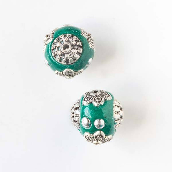 14mm Green and Silver Handmade Bead with Bead Caps - 2 per bag