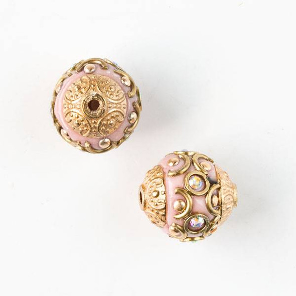 14mm Mauve Pink and Gold Handmade Bead with Crystals and Bead Caps - 2 per bag