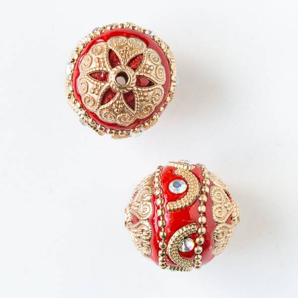 20mm Red and Gold Handmade Bead with Crystals and Bead Caps - 2 per bag