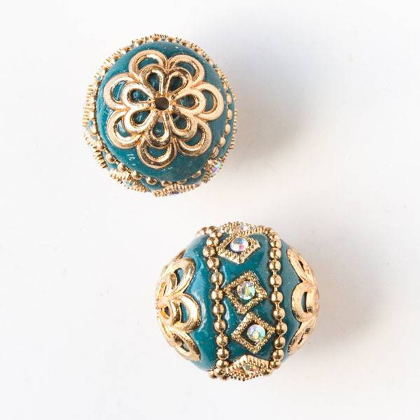 20mm Teal and Gold Handmade Bead with Crystals and Bead Caps - 2 per bag