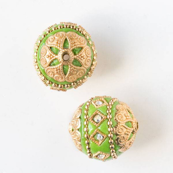 20mm Peridot Green and Gold Handmade Bead with Crystals and Bead Caps - 2 per bag