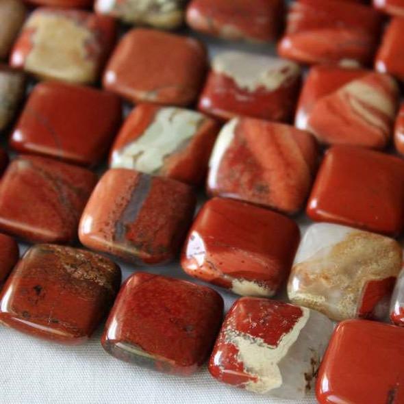 Cappuccino Jasper 15mm Square Beads - 16 inch strand