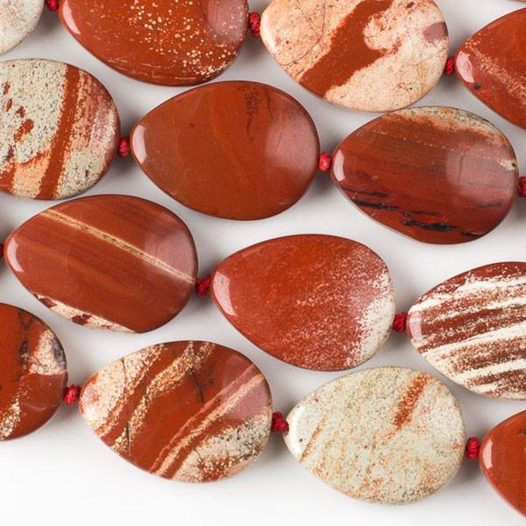 Cappuccino Jasper 18x25mm Teardrop Beads - knotted 16 inch strand