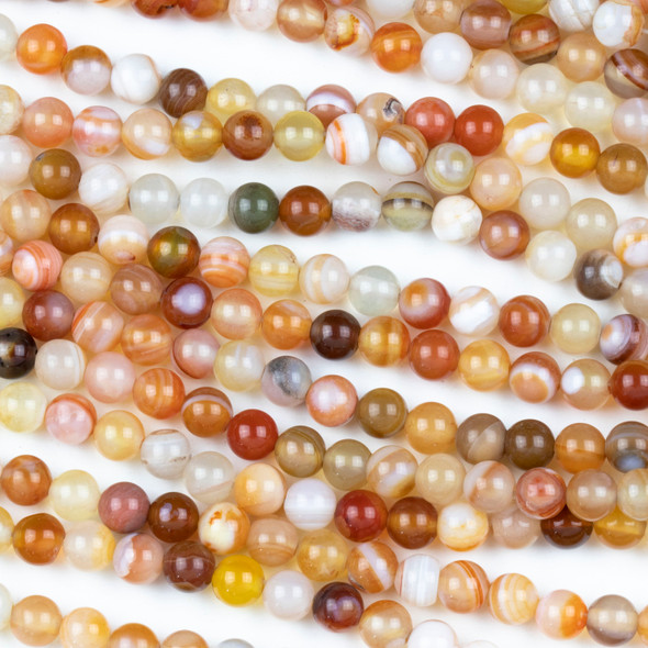 Multicolor Carnelian 6mm Round Beads - 15 inch strand