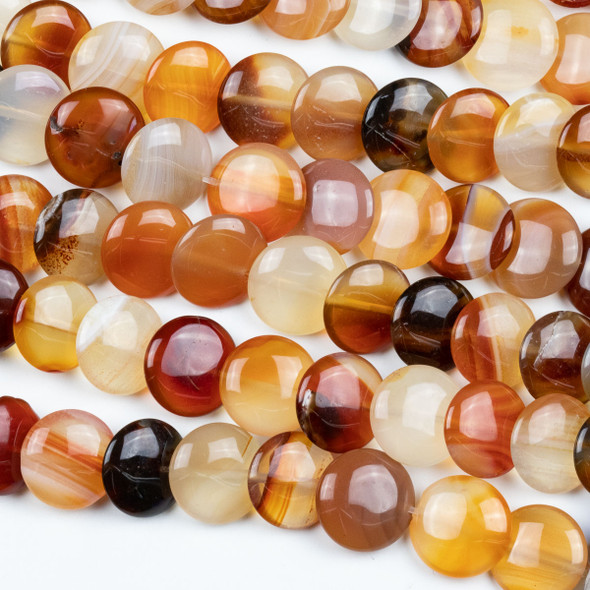 Carnelian 12mm Overlapping Coin/Lentil Beads - 16 inch strand