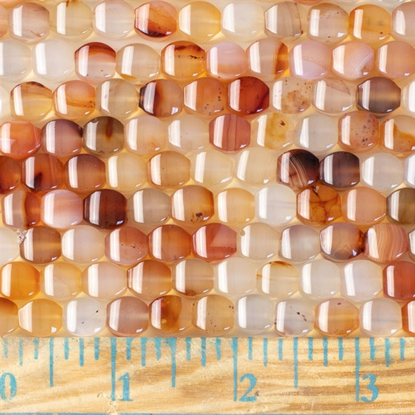 Carnelian 8mm Cushion Beads - approx. 8 inch strand, Set A
