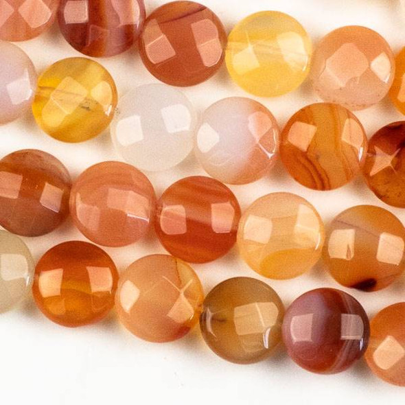 Carnelian 10mm Faceted Coin Beads - approx. 8 inch strand, Set B
