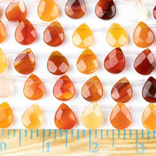 Carnelian 12x15mm Faceted Top Drilled Teardrop Beads - approx. 8 inch strand, Set B
