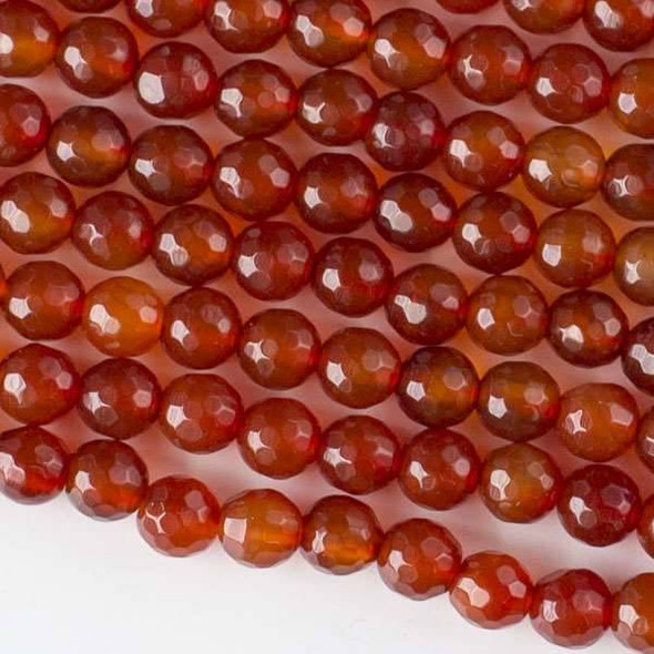 Carnelian/Red Agate 6mm Faceted Round Beads - approx. 8 inch strand, Set B