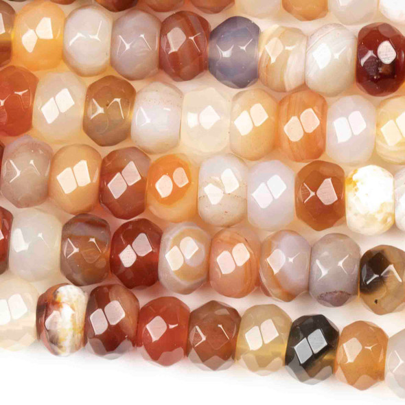 Carnelian 5x8mm Faceted Rondelle Beads - approx. 8 inch strand, Set B