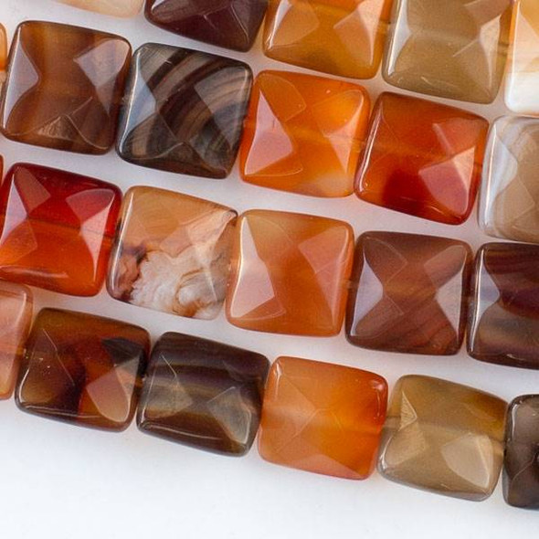 Carnelian 10mm Faceted Square Beads - approx. 8 inch strand, Set B
