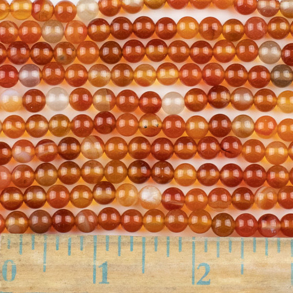 Carnelian 6mm Round Beads - approx. 8 inch strand, Set A