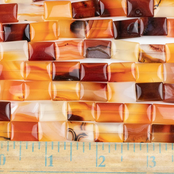 Carnelian 10x14mm Rectangle Beads - approx. 8 inch strand, Set A