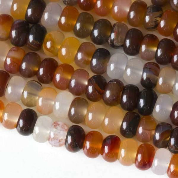 Carnelian 5x8mm Rondelle Beads - approx. 8 inch strand, Set A