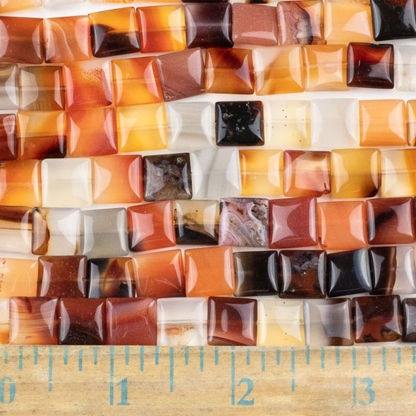 Carnelian 10mm Square Beads - approx. 8 inch strand, Set A