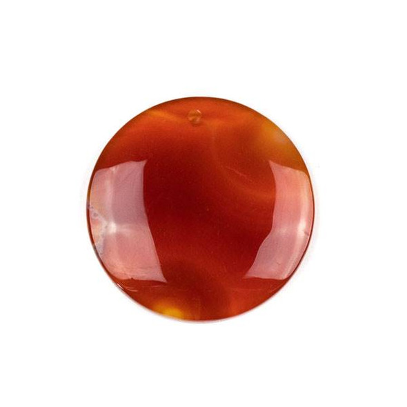 Carnelian/Red Agate 40mm Top Front to Back Drilled Coin Pendant with a Flat Back - 1 per bag