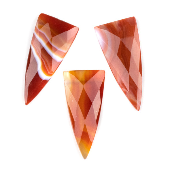 Carnelian/Red Banded Agate 25x55mm Faceted Top Drilled Shield Pendant - 1 per bag