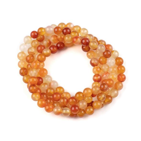 Carnelian 8mm Mala Round Beads - 36 inch strand