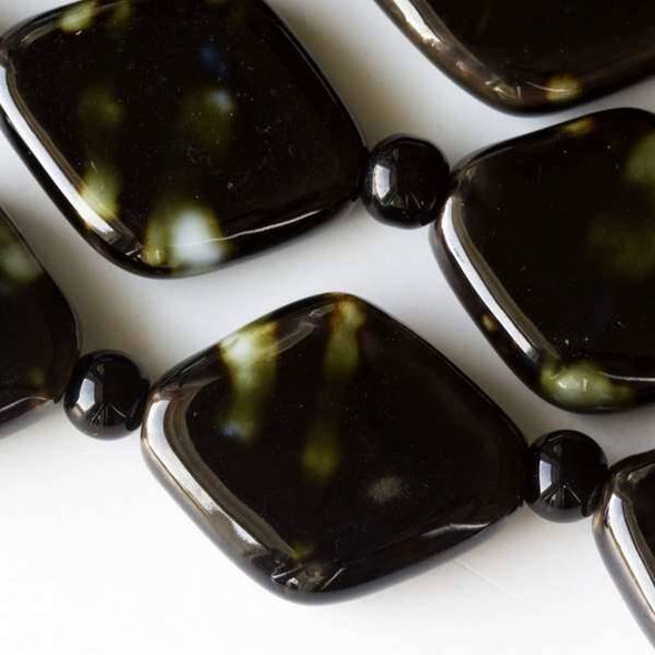 Ceramic 21x26mm Darkest Brown Diamond with Splashes of Green and Blue